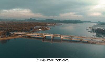 pont, huile, aérien, fuite, visible, vue mer