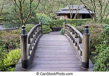 pont, japonais jardin