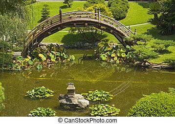pont, jardin japonais