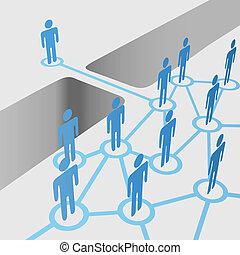 pont, joindre, réseau, gens, fusion, trouée, relier, équipe