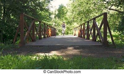 pont, lent, vélo, mouvement, park., équitation, travers, homme