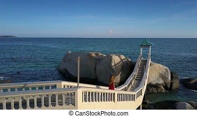 pont, marine, contre, bas, abrutissant, va, girl