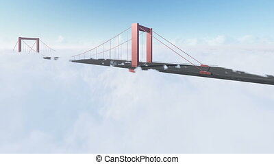 pont, nuages, levers de soleil, au-dessus, baie
