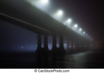 pont, ou, brouillard, brume