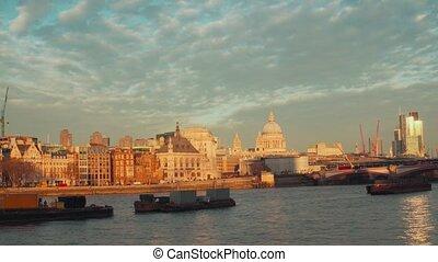 pont, paul, blackfriars, londres, embankment., tamise, saint, cathédrale, vue ville