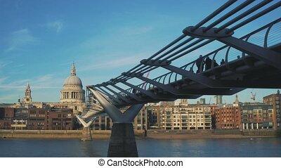 pont, paul, embankment., millénaire, saint, cathédrale, tamise, vue
