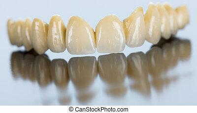 pont, porcelaine, dentaire, surface, miroir