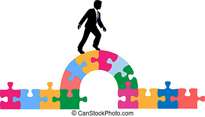 pont, puzzle, solution, personne affaires