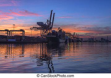 pont, récipient cargaison, fond, fonctionnement, crépuscule, grue, chantier naval, exportation, logistique, importation, fret, coucher soleil, bateau