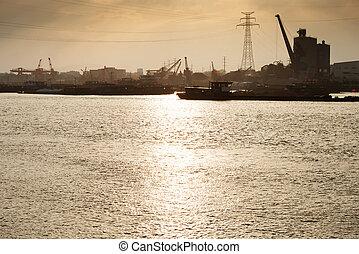 pont, récipient cargaison, fond, fonctionnement, crépuscule, grue, chantier naval, exportation, logistique, importation, bateau fret
