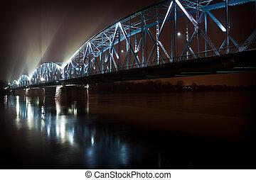pont, rivière, éclairé, nuit