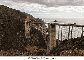 pont, ruisseau, vues, grand, bixby, coucher soleil, californie, usa.