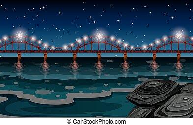 pont, scène nuit, océan