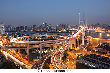 pont, shanghai, porcelaine, night., nanpu