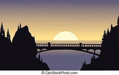 pont, silhouette, lune