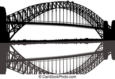 pont, silhouette, port sydney