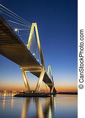 pont, soir, tonnelier, jr., ravenel, charleston, arthur, coucher soleil, printemps, sc, suspension, rivière, sur, caroline sud