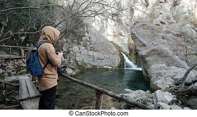 pont, stands, bois, sur, photos, forêt, rivière, prendre, homme