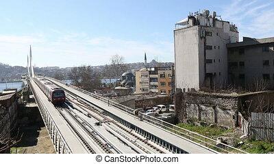 pont, station, train, 14, métro