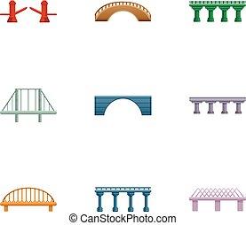 pont, style, ensemble, moderne, dessin animé, icône