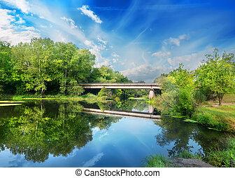 pont, sur, rivière, silencieux