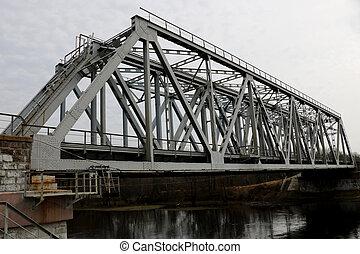 pont, sur, rivière, vieux, ferroviaire