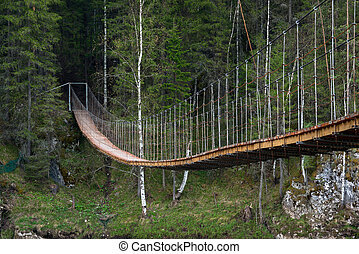 pont, sur, rivière, vieux, suspension