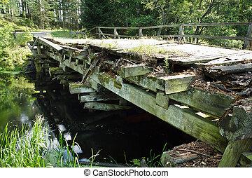 pont, sur, rivière, vieux, vendange
