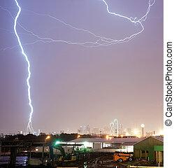 pont, thuderstorm, dallas, produit, coups, boulon foudre, calatrava, texas