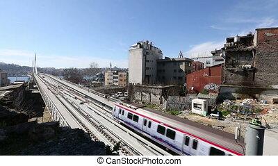 pont, train, 12, station métro