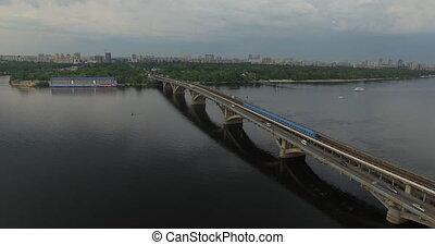 pont, train, aérien, métro, vue