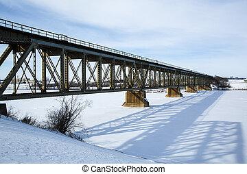 pont, train, hiver
