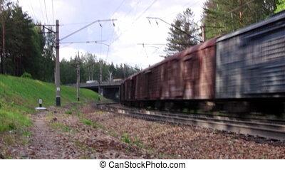 pont, train, passes, sous, cargaison