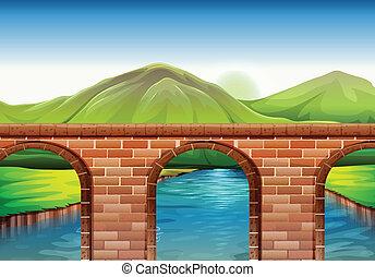 pont, travers, montagnes