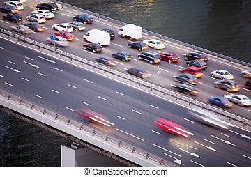 pont, troisième, moscou, eau, anneau, rivière, russie, transport