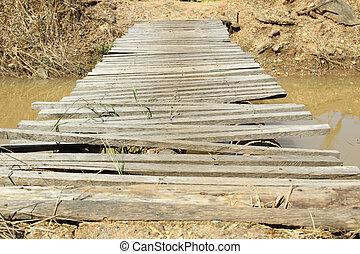pont, vieux, bois, sur, countryside., rivière