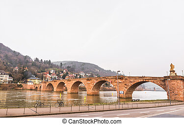 pont, vieux, croix, rivière neckar, heidelberg
