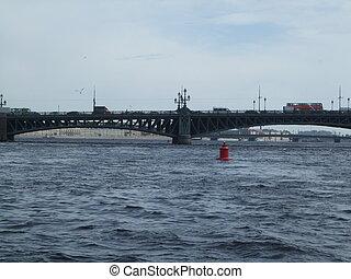 pont, vieux, saint, peterburg, sur, fer, rivière, russie
