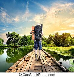 pont, vieux, touriste