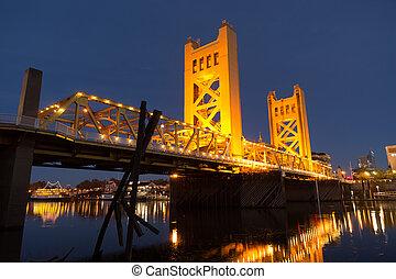 pont, ville, sacramento, en ville, horizon, californie, capital, tour, rivière