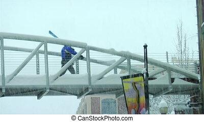 pont, ville, utah, parc, promenades, travers, skieur