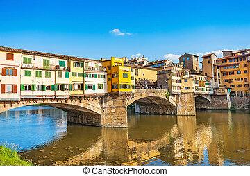 ponte, florence, vecchio, célèbre, coucher soleil, arno rivière