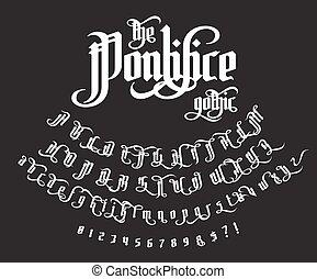 pontifice, vendange, -, étiquette, gothique, police