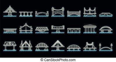 ponts, icônes, ensemble, vecteur, néon