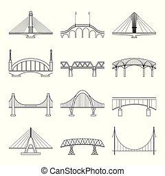 ponts, linéaire, icônes, ensemble, vector.