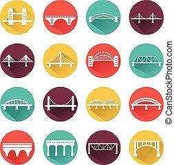 ponts, set., vecteur, isolé, icônes