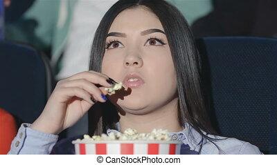 pop-corn, girl, seau, asiatique