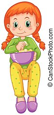 pop-corn, seul, girl, manger