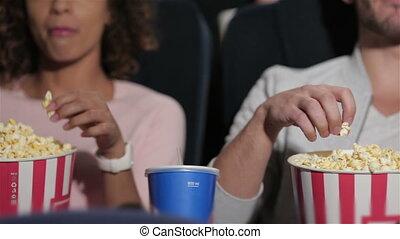 pop-corn, théâtre, couple, manger, cinéma