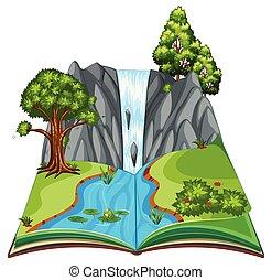 pop, livre, haut, paysage